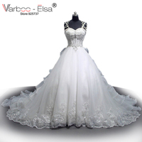 VARBOO ELSA Sweetheart Crystal Pearl Luxury Wedding Dress 2017 Custom Made White Lace Ball Gown Bridal