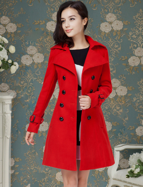 Fashion European and American style New Women's Winter Coat Red ...