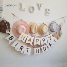 Happy Birthday Banner Party Decoration Gold Letters Hanging Garland  Photo Props Bunting