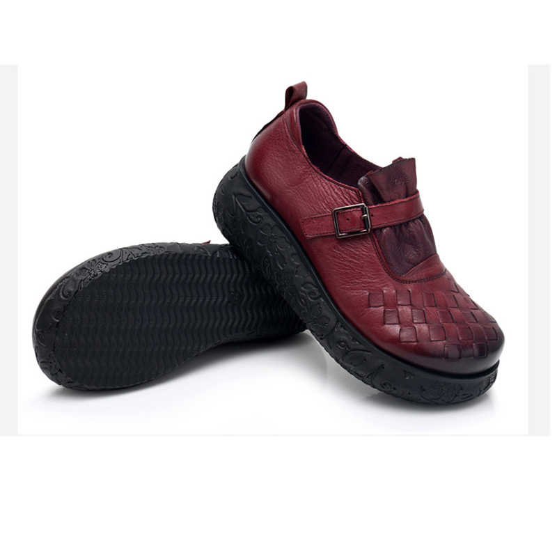 BEYARNE 2019 plate-forme femme chaussure à la main en cuir véritable appartements doux confortable chaussures pour femmes dames ShoesE340