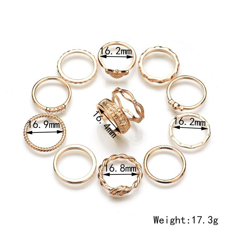 2019 1set 12 piece Ring Female Micro Zinc Alloy Zircon Rings For Women Men Jewelry Dropshipping in Rings from Jewelry Accessories