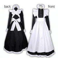 British Style Maid Dress Cosplay Animation World Cafeteria Cafe Dress, Long Dress, Black and White Maid Dress masculin Costume