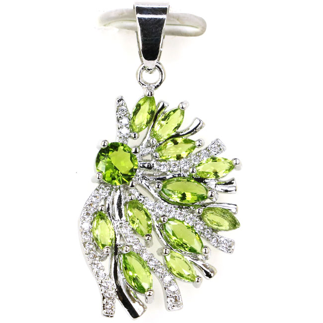 Colorful Flower Shape Green Peridot White CZ Woman's 925 Silver Pendant 37x20mm