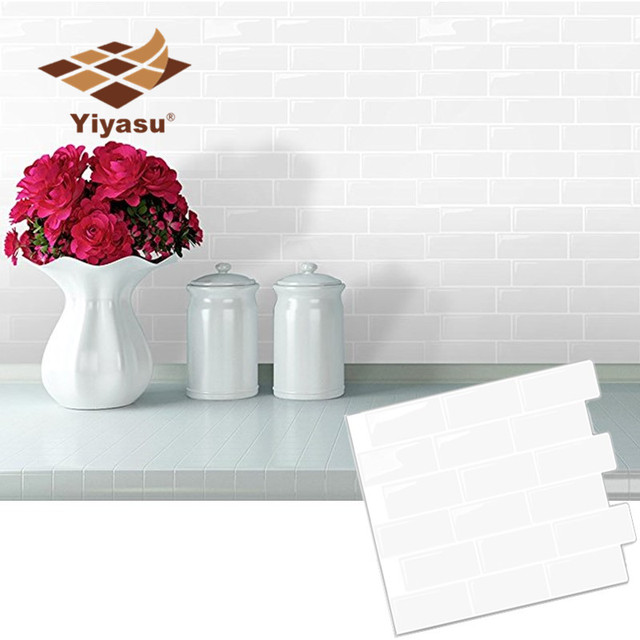 White Subway Back splash Tile peel and stick Self Adhesive Wall Decal Sticker DIY Kitchen Bathroom Home Decor Vinyl