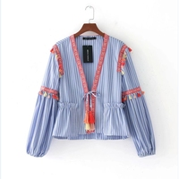 2017 Women Vintage Striped Tassel Kimono Cardigan Shirts Blouse Women elegant long sleeve casual blouse for business LS1221