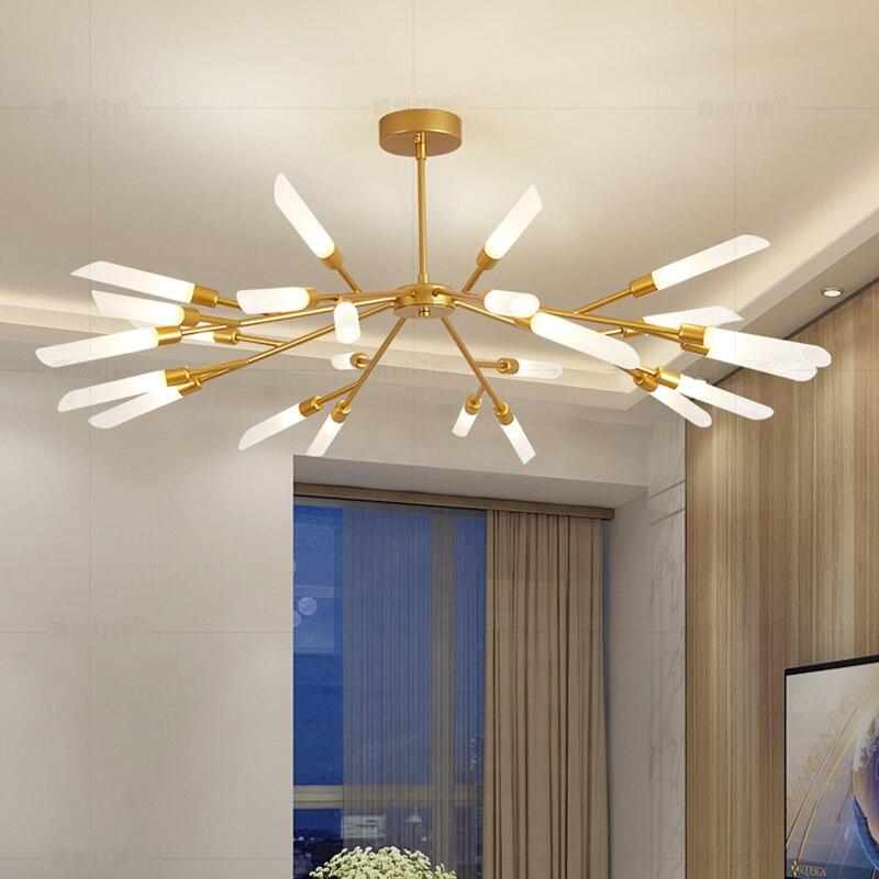 Золото Дерево формы светодиодные люстры современные для столовой G9 AC 110 V 220 V люстры на потолке обеденный