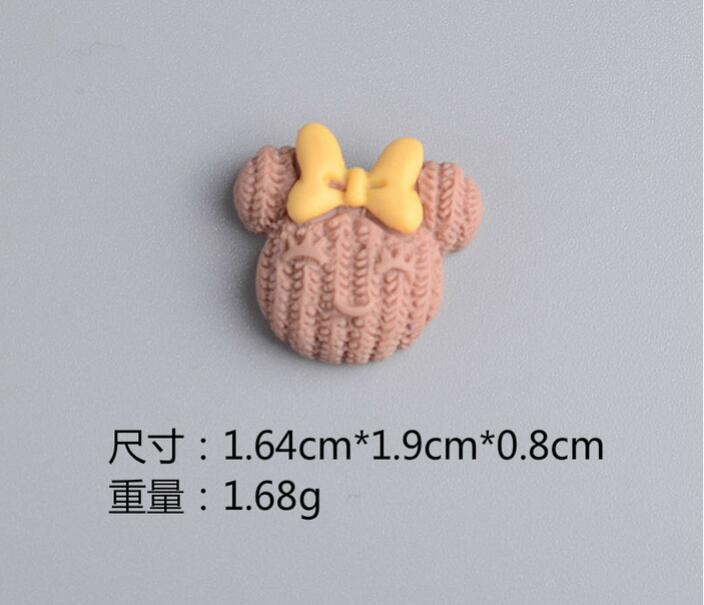 New Fashion 1.64cm*1.9cm*0.8cm Mix Colors Mouse Head Flat back Resin DIY For DIY Hair Jewelry Accessories