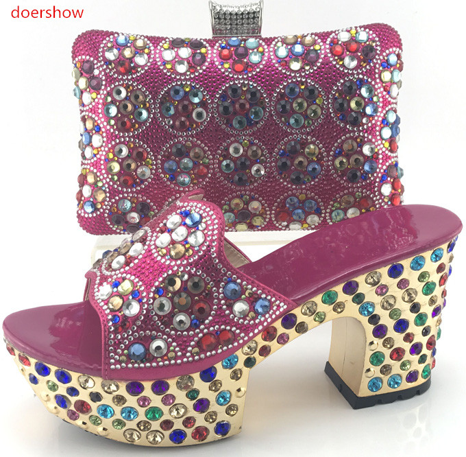 doershow Women African Italian Shoes and Bag Sets fuchsia Matching Shoes and Bags Italy High Quality African Wedding !WI1-5 new design italy matching bags and shoes high quality italian shoes and bags to match women sandal pumps for wedding hs002