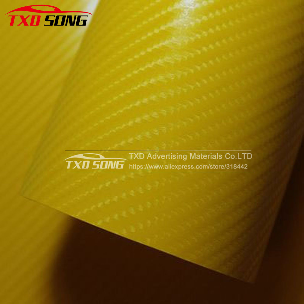 1.52*30M Yellow 4D carbon fiber sticker with air free bubbles 4D carbon wrapping film for car body decoration by free shipping