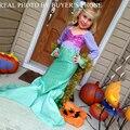 Los niños de La Sirena Vestido de La Muchacha Niños Cosplay Traje de Halloween de Los Niños Vestidos con Hearwear disfraz infantil meisjes vestido kleding