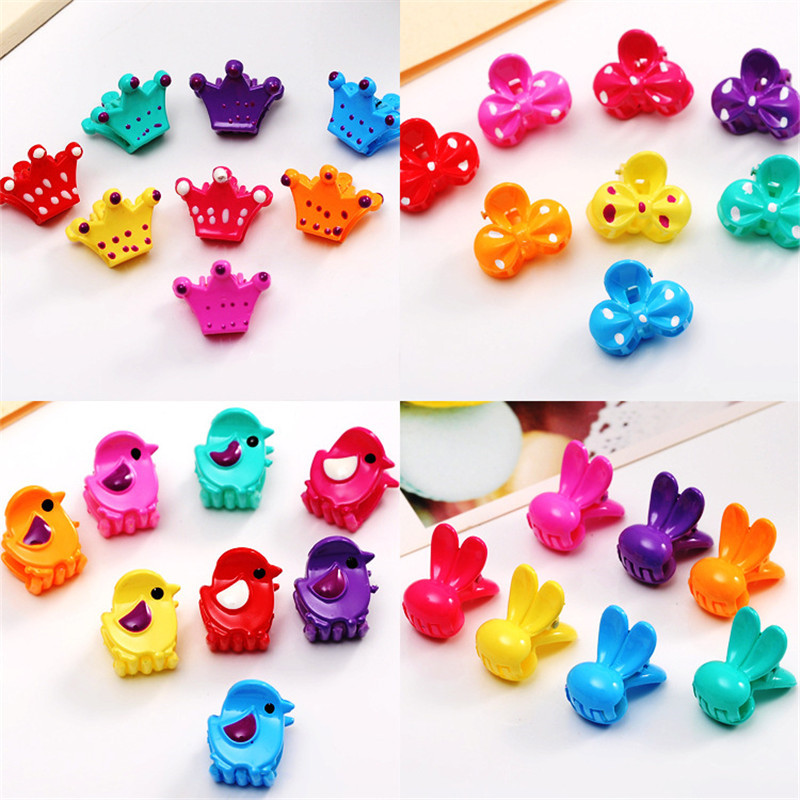 10pcs/lot Hot Baby Hair Claw Cute Girl Flower Bow Hairpins Dot Crown Resin Hair Accessories Children Cartoon Top-end Hairgrips fashion barrette baby hair clip 10pcs cute flower solid cartoon handmade resin flower children hairpin girl hairgrip accessories
