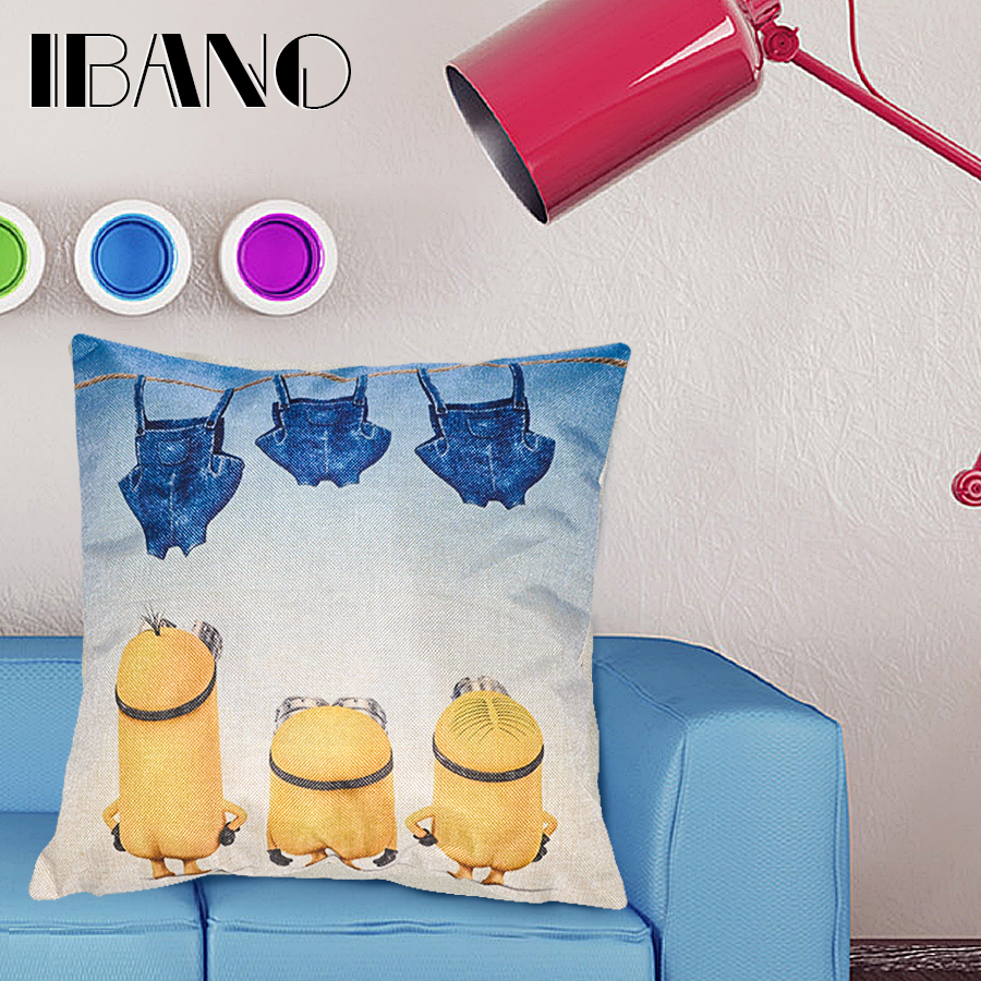 Poly Linen Digital Printing Minions Customized Cushion Throw Pillow Sofa Office Back Cushion Baby Room Decorative 45x45cm SQ