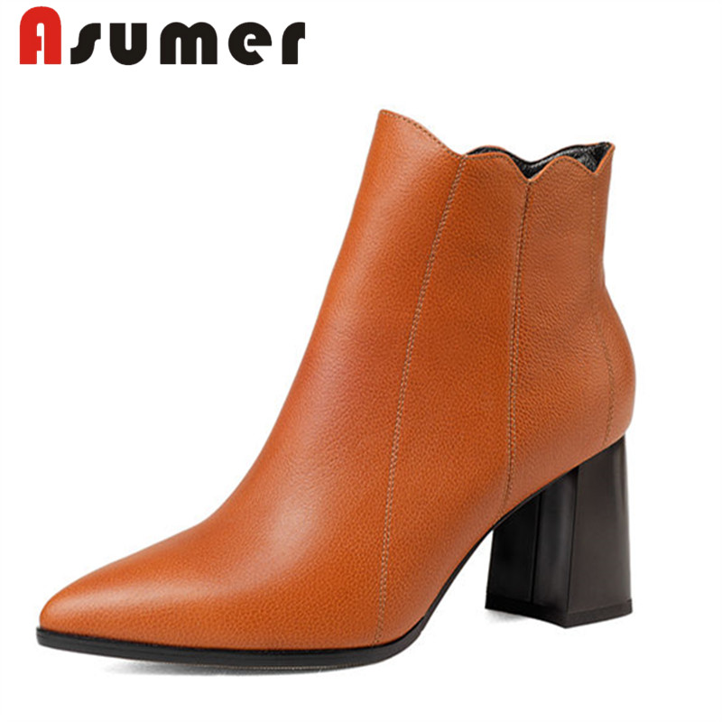 ASUMER 2018 NEW adult solid ankle boots for women high quality winter boots pointed toe shallow genuine leather boots size34-42ASUMER 2018 NEW adult solid ankle boots for women high quality winter boots pointed toe shallow genuine leather boots size34-42
