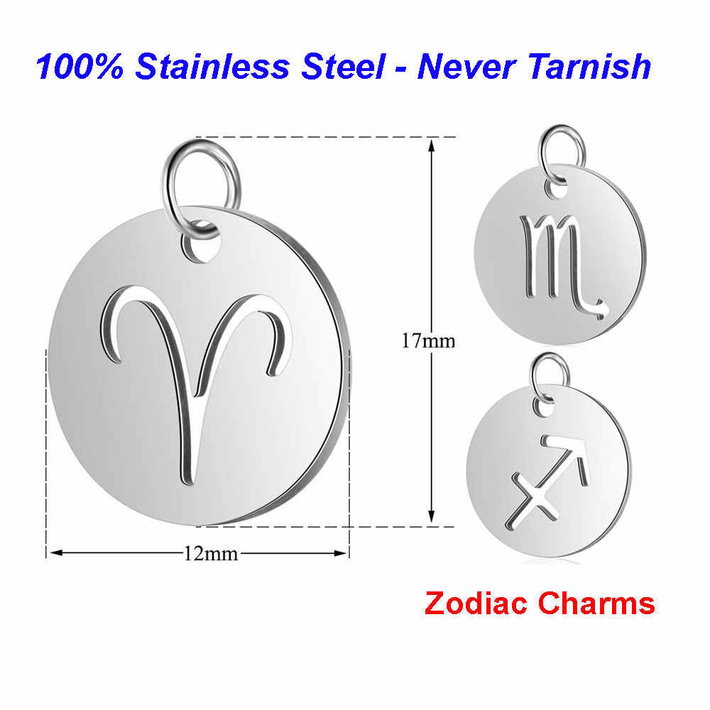 5pcs/lot Horoscope diy Charms 100% Stainless Steel Vnistar Zodiac Laser Cutting Jewelry Finding Charms for Bracelets