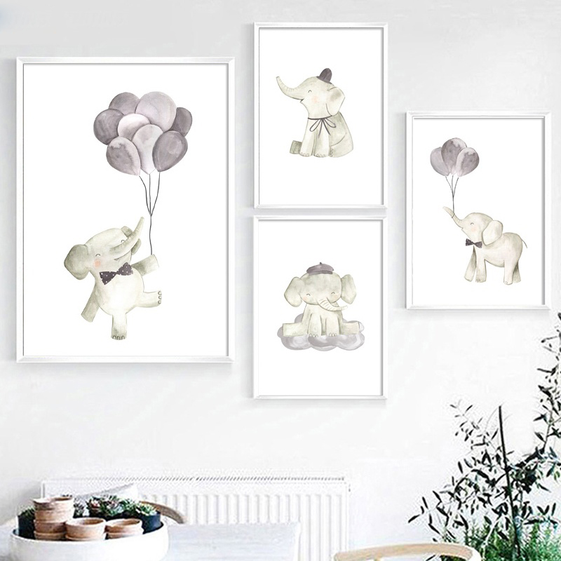 Watercolor Elephant balloon Wall Art Canvas Painting Nordic Posters And Prints Decoration Pictures Baby Girl Boy Room Decor