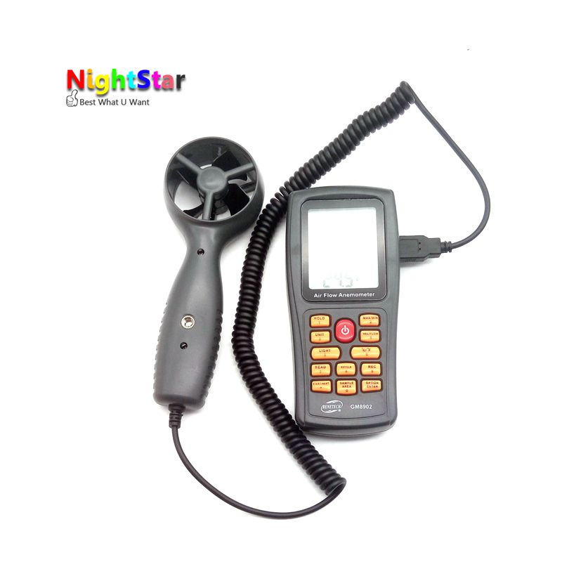 NS8902 Air Flow Anemometer Wind Speed LCD Digital Thermometer Electronic Hand-held Wind Speed Gauge Meter Range 0.3~45m/s hp 836a digital anemometer wind velocity meter with wind speed range 0 3 45m s