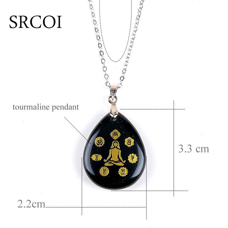 nieuwe reiki symbolen chakra sieraden zwart obsidiana stone ketting
