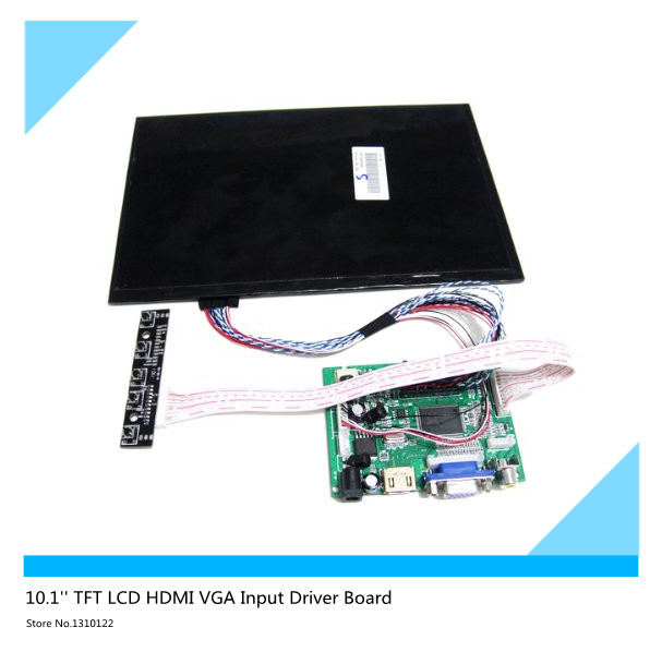 10.1''inch LCD High resolution 1280x800 Screen Display LCD TFT Monitor Remote Driver Control Board 2AV HDMI VGA for Rasbperry Pi купить