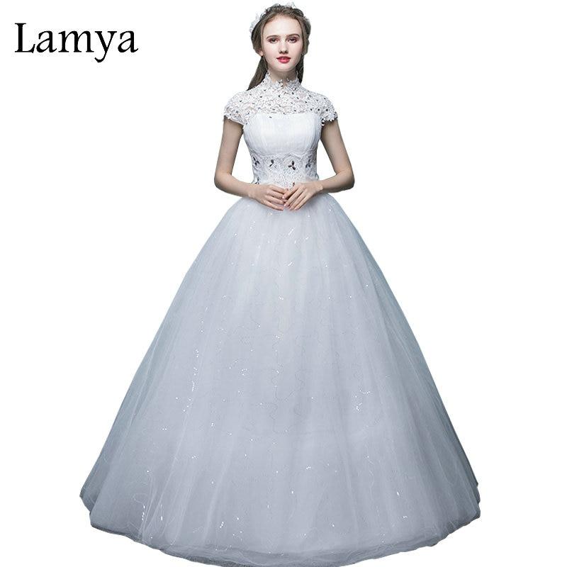 LAMYA Women Lace High Neck Wedding Dress Princess Plus