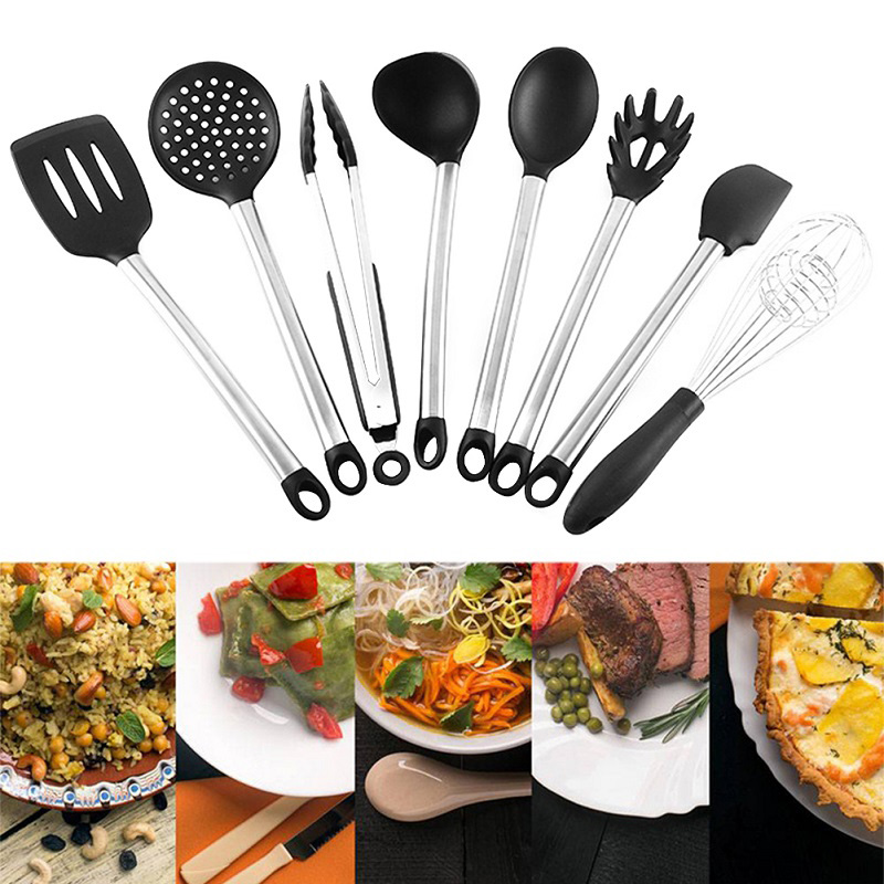 3/4/8/9 Pcs Kitchen Cooking Tool Set Silicone Wooden Handle Spoon Shovel Non Stick Dinnerware Cooking Tools Accessories Supplies
