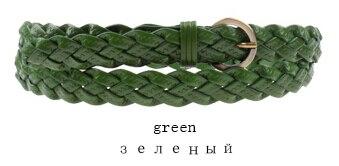 Горячая распродажа бренд ткачество из натуральной кожи тонкий пояса для женщин украшения фраке cummerbunds цвет полная длина 110 см - Цвет: Зеленый