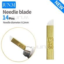 0.2Mm 50Pcs Pcd 14Pins Microblading  Needles Circular Arc Needle Blade Manual Tattoo Pen'S Needle Blade Needle