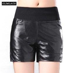 Herbst Winter Echtem Leder Shorts Frauen Schaffell Echt Leder Shorts Vintage Beiläufige Dünne Sexy Damen Plus Größe Schwarz Shorts