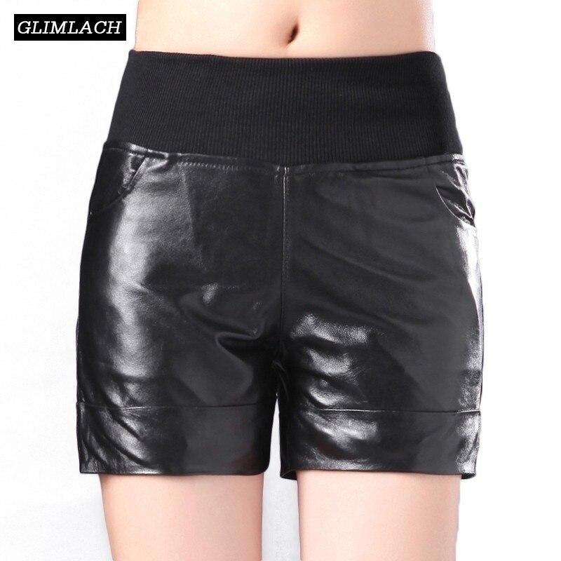 Otoño Invierno Plus Cortos Black De Piel Las Negros Mujeres Genuino Tamaño Real Pantalones Mujer Oveja Vintage Sexy Cuero Casual Slim rCarxHWwqd