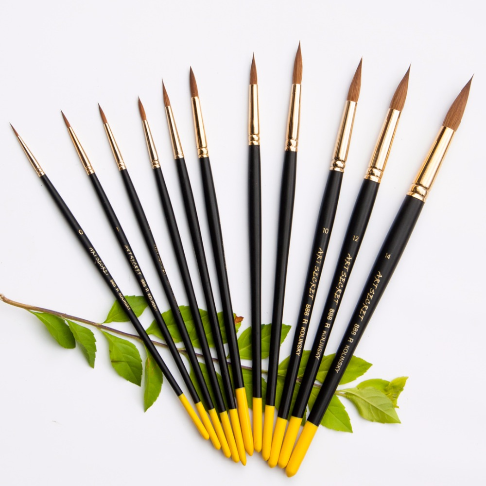 888R Kolinsky tail hair watercolor paint art supplies paint artistic brushes pen for artists painting drawing(China)