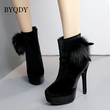 BYQDY Autumn Woman Shoes Fashion Black Platform Heels Ankle Boots 2018 Red Wine Suede Ladies Party Round Toe Female