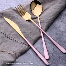 3 шт./партия, золотые портативные столовые приборы из нержавеющей стали, столовый нож с ложкой вилки, Набор корейской еды, походная посуда
