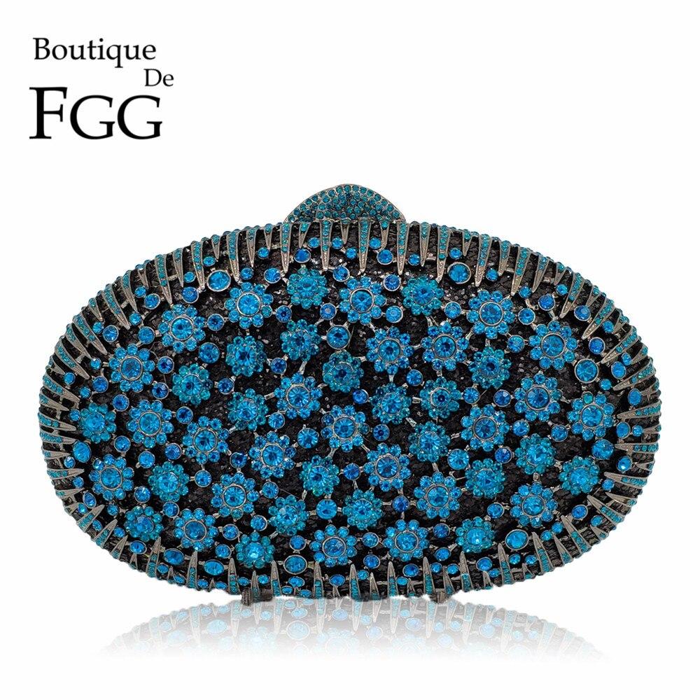 Boutique De FGG Peacock Blue Luxury Handbags Women Crystal Clutch Flower Evening Bags Wedding Floral Handbags