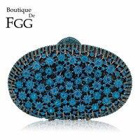 3de928a30 Boutique De FGG Peacock Blue Luxury Handbags Women Crystal Clutch Flower Evening  Bags Wedding Floral Handbags
