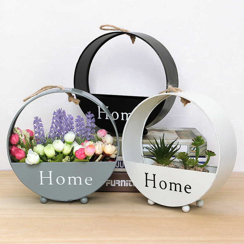 INS Iron Wall Hanging Planter Garden Succulent Flower Pot Stand Storage Flower Basket Home Decoration Pots For Flowers Bloempot