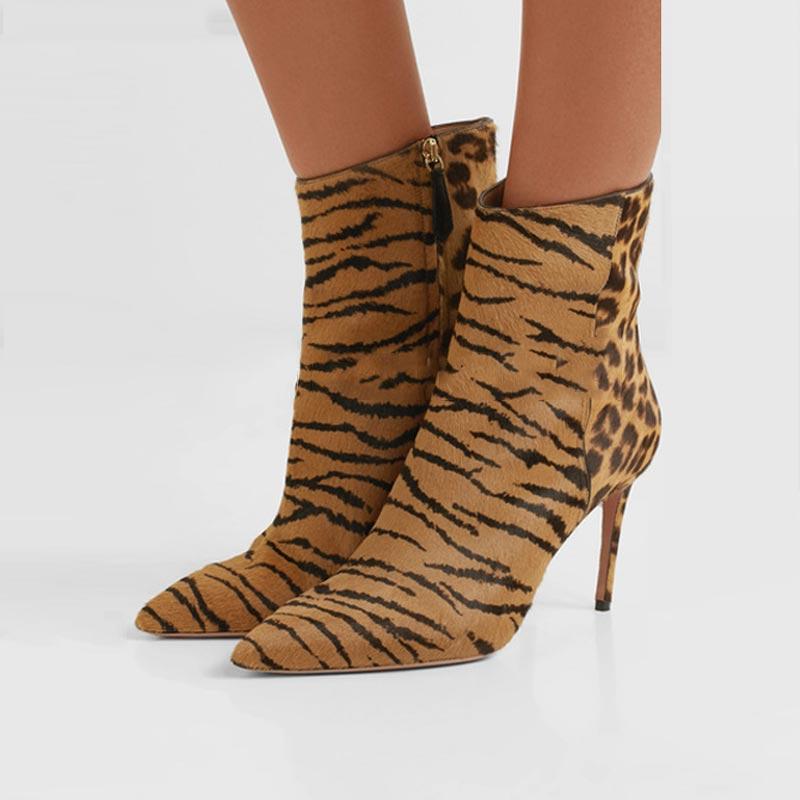 Ботинки; женские ботильоны с леопардовым принтом; острый носок; тонкий каблук шпилька; искусственная кожа; Высокий каблук; женская обувь
