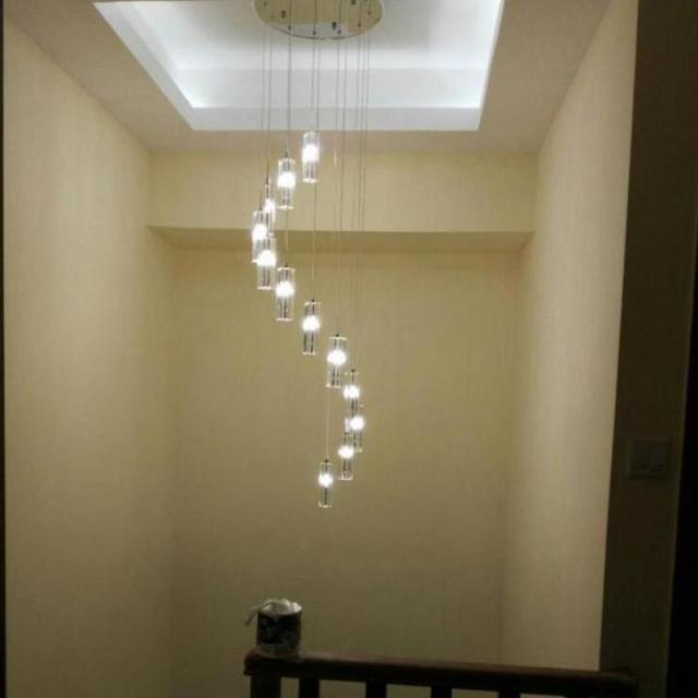 LED Hanging Crystal Chandelier Modern Large Spiral Chandelier Stair Lamps  Long Staircase Hall Drop Light Lustres