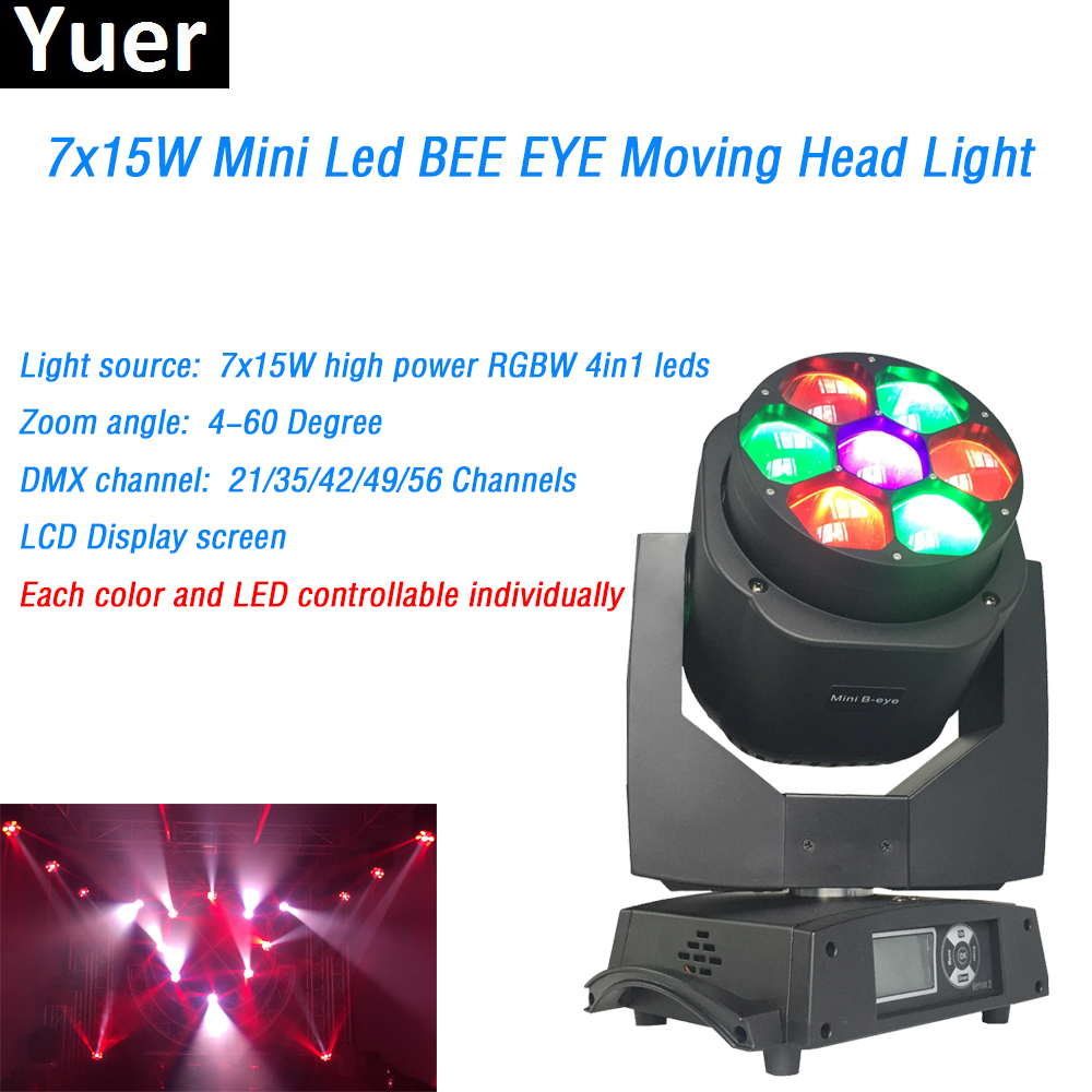 7X15W RGBW 4IN1 led Mini Bee Eye Moving Head Wash Beam Lights led lamp 4-60 Degree Zoom Angle DJ Disco Professional Stage Lights
