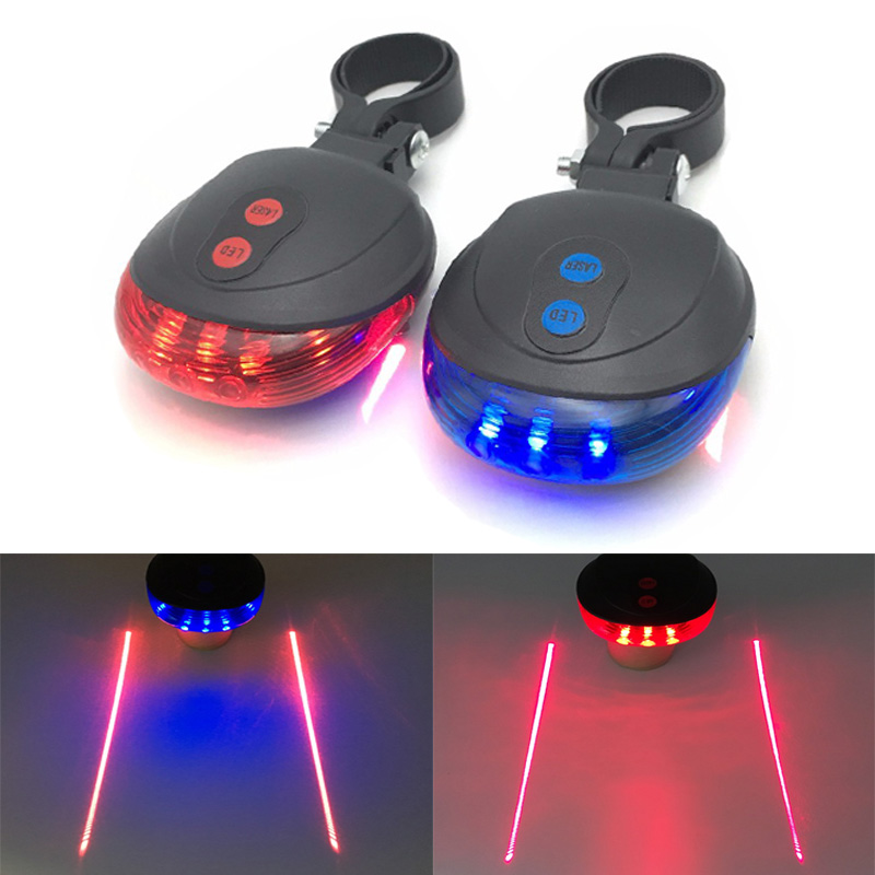 5 LED+ 2 Laser Bicycle LED Tail Light Bike Rear Lamp Light Safety Warning Flashlight Night Mountain Light
