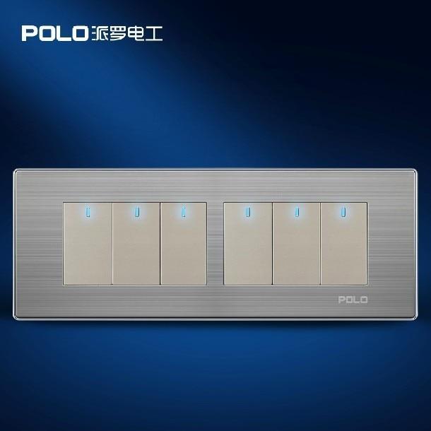Free Shipping,POLO luxury wall switch panel,197MM*72MM, LED panel, Light switch, Flat switch,110~250V,6 Gang 2 Way  free shipping wallpad luxury wall switch panel 6 gang 2 way switch plug socket 197 72mm 10a 110 250v
