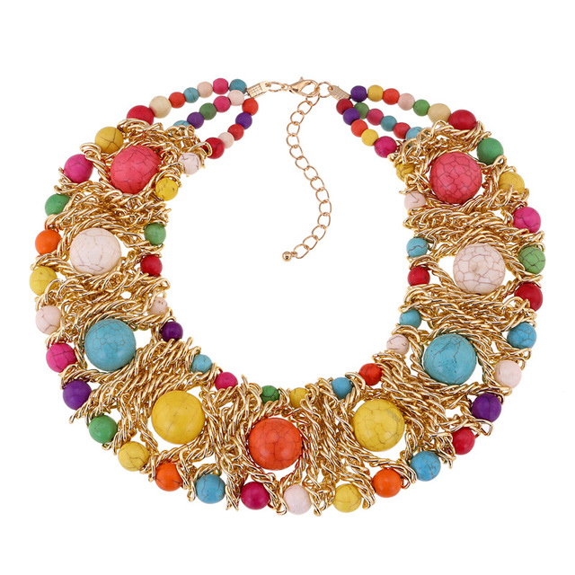 Fashion Colorful Agate Necklaces Bohemia Manual Weaving Blue Natural Stone Turquoise Short Necklace Maxi Necklace Colar Feminino