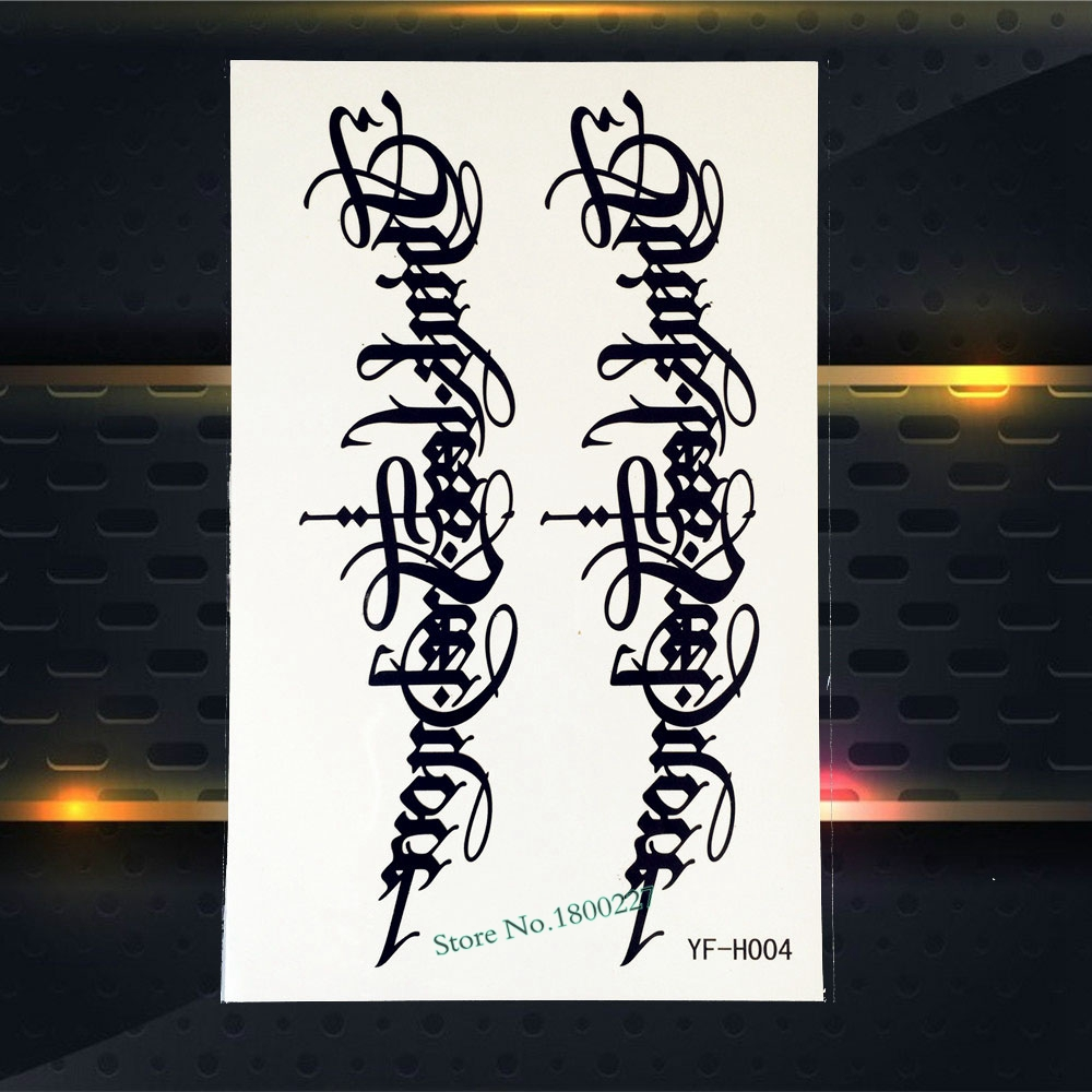 Trendy Black Ink Fake Arm Tattoo Fashion Words Letter Design Men Women Body Arm Art Waterproof Temporary Tattoo Stickers PYFH004