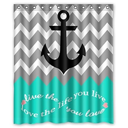 Nautical Anchor Turquoise Grey White Waterproof Bathroom Fabric Shower Curtain In Curtains From Home Garden On Aliexpress