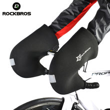 Rockbros Winter Warm Windproof Bicycle Handlebar Cycling Gloves Waterproof Mountain Road Heated Bike Gloves Men Riding Mittens(China)