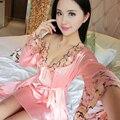2017 Nuevo de Las Mujeres de La Rodilla-longitud Femenino Camisón Night Dress Sexy Lingerie Dormir ropa de Dormir de Algodón de Manga Camisa Túnica de Cuello Redondo