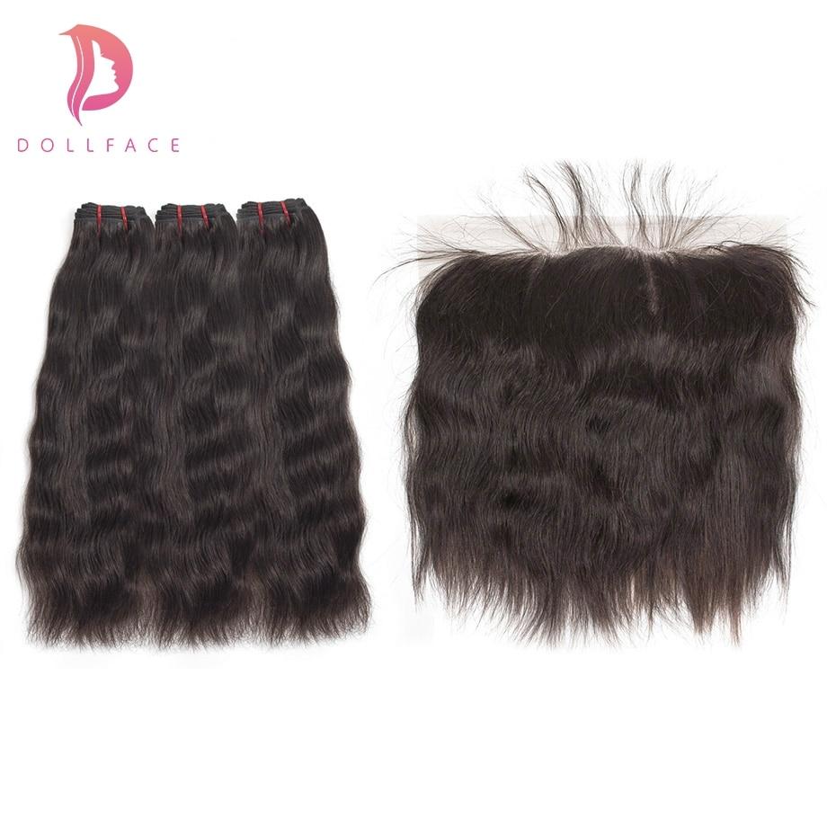 Dollface Raw Indian Virgin Hair Bundles with Frontal Natural Straight Hair Bundles with Frontal Hair Extension