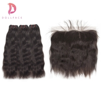 Кукольные Необработанные индийские Виргинские пучки волос с фронтальным естественным прямыми пучками волос с фронтальным расширением вол