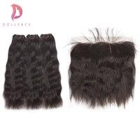 Dollface сырье индийского Девы пучки волос с фронтальной Природный прямые волосы Связки с фронтальной волос Бесплатная доставка