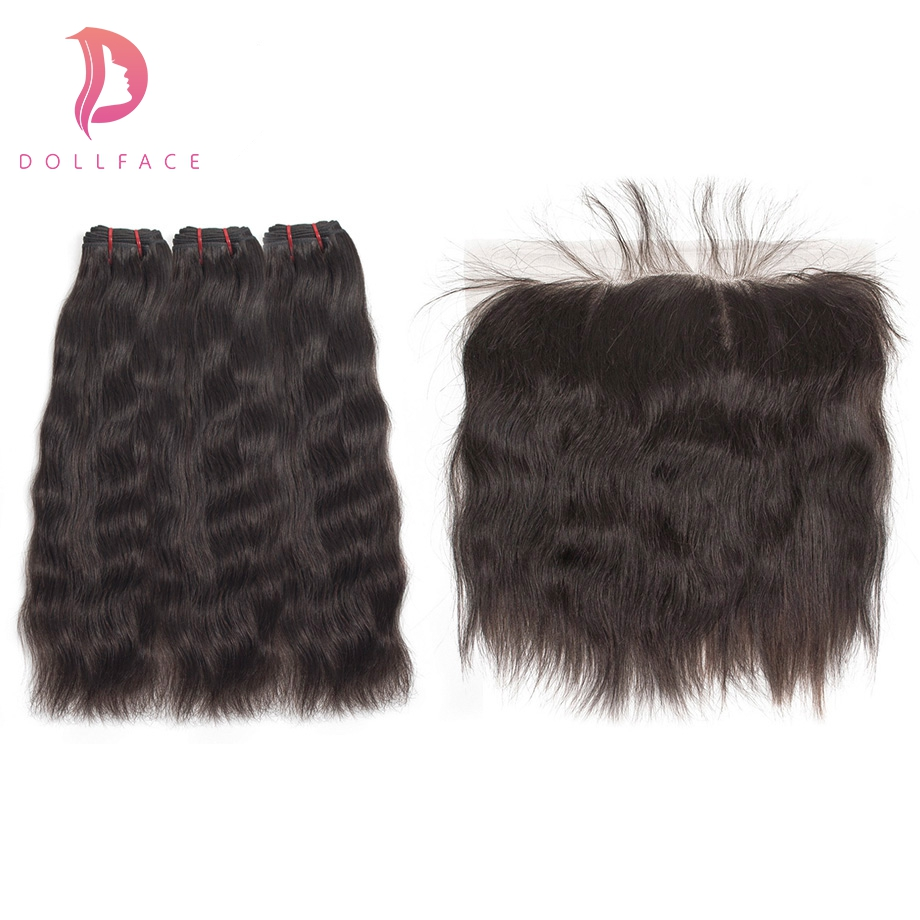 Dollface Raw Indian Virgin Hair Bundles With Frontal Natural Straight Hair Bundles With Frontal Hair Extension Free Shipping