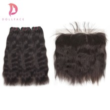 Dollface Raw Indian Virgin Hair Bundles with Frontal Natural Straight Hair Bundles with Frontal Hair Extension Free Shipping(China)