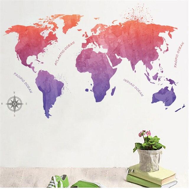 Bunte Welt Karte Oecan Wand Aufkleber Wohnzimmer Büro Schule Schlafzimmer  Dekorationen Diy Drucken Mural Art Home